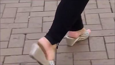 Candid Sexy Mature BBW In Wedge Sandals