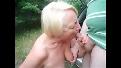 short clip, granny blows cock