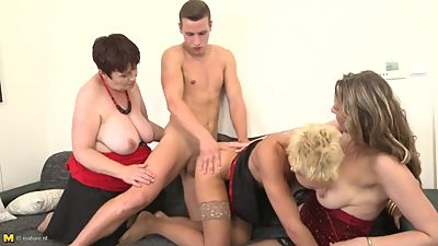 Taboo group sex with mothers and granny